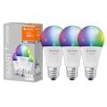 CONJUNTO 3x Lâmpada LED RGBW com regulação SMART + E27/9,5W/230V 2700K-6500K Wi-Fi - Ledvance
