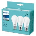 CONJUNTO 3xLâmpada LED Philips A60 E27/9W/230V 4000K