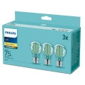 CONJUNTO 3xLâmpada LED Philips E27/8,5W/230V 2700K
