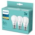 CONJUNTO de 3 lâmpadas LED Philips A60 E27/8W/230V 2700K