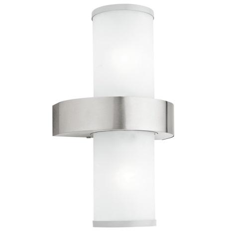 EGLO - Luz de parede de exterior 2xE27/60W prata / branco IP44