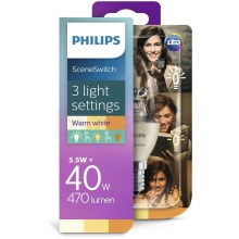 Lâmpada LED Philips SCENE SWITCH B38 E14/5,5W/230V 2200K-2700K