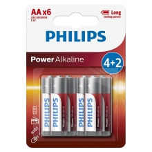 Philips LR6P6BP/10 - 6 pçs Pilha alcalina AA POWER ALKALINE 1,5V